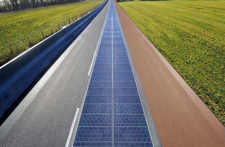 Tourouvre-au-Perche鋪設的太陽能道路,全長1公里。