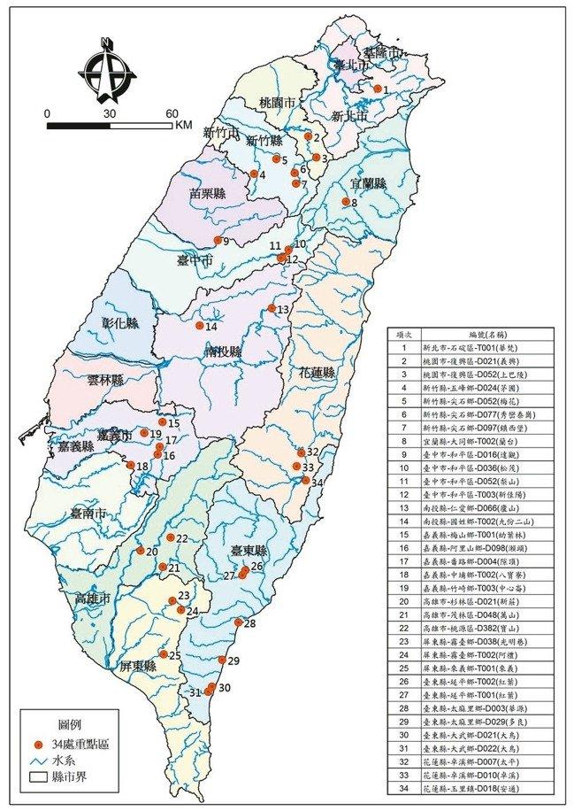 為避免再有大規模崩塌,農委會水土保持局利用光學雷達攝影,找出全台最危險的34處潛勢區。