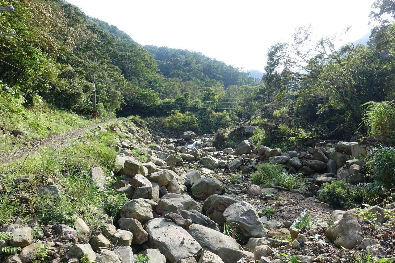 新店區平廣溪上游整治施工前,現場大量土石堆積。