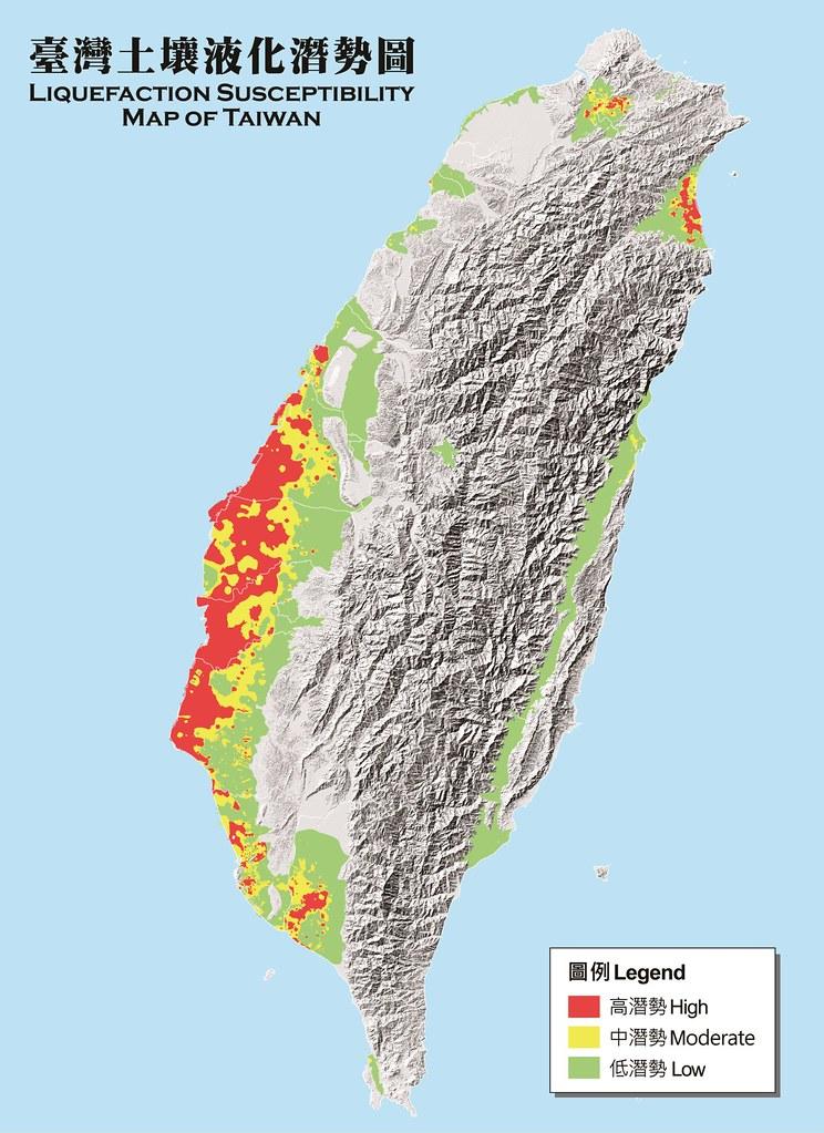 全台土壤液化潛勢圖。圖片來源:中央研究院地質調查所
