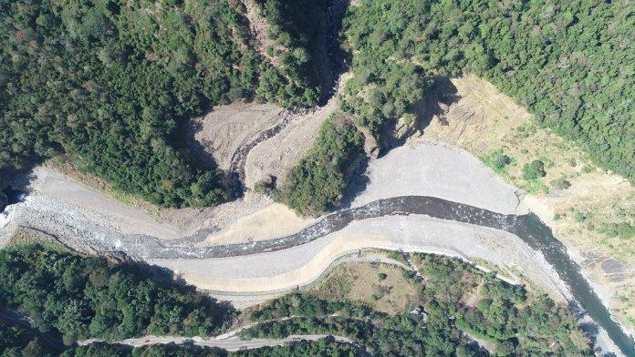 蘭島溪梳子壩施工後現場空拍圖。<圖片來源/南投林管處提供>