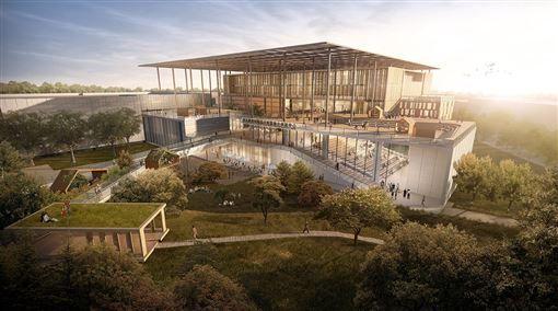 「國家圖書館南部分館暨聯合典藏中心」位於台南新營,將成為南部知識重鎮。< 圖/翻攝自九典聯合建築師事務所官網 >
