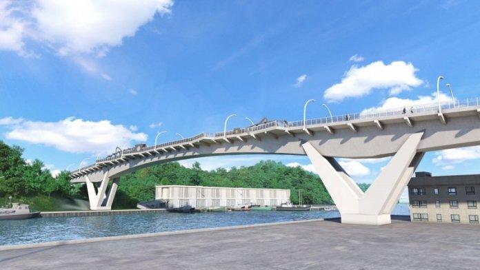 南方澳跨港大橋今天啟動重建工程,全力兌現3年內完工的支票,圖為新橋藍圖。