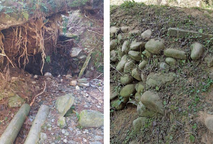 平臺旁設置簡易木樁明渠(左圖),以及石下埋設涵(暗)管(右圖),能幫助水流導引至適當排放處。