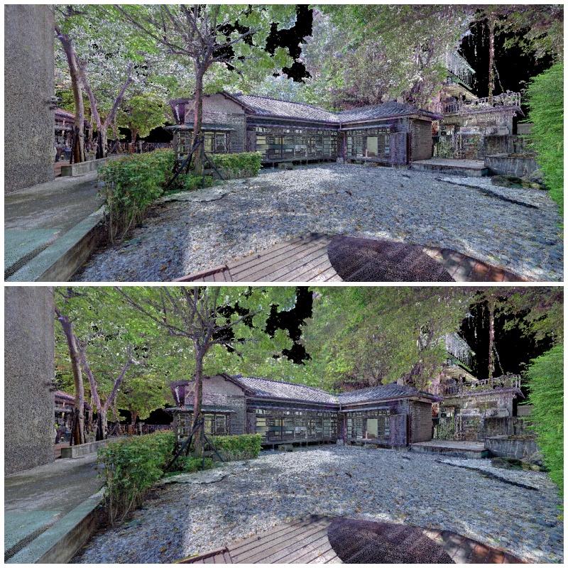 上圖為實測全球頂尖點雲商業軟體建模結果,容易搖晃的樹葉誤植入天空的顏色;下圖為以國網中心點雲建模技術結合AI校色功能的實作結果。