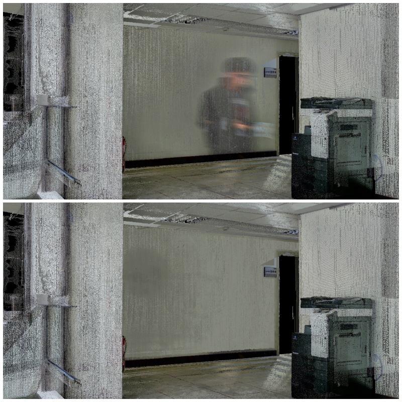 上圖為商業軟體實測,容易將路過的人影殘留在3D模型中;下圖則是國網中心結合AI自動去除人影的結果。