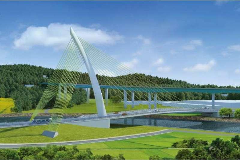 國四豐潭段第 C714 標有斜張橋設計,此為完工示意圖。
