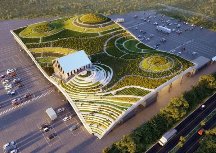 由荷蘭頂尖建築團隊MVRDV搭配LLJ Architects合作操刀全台首座梯田綠建築市場,將於9月於台南新化正式啟用。