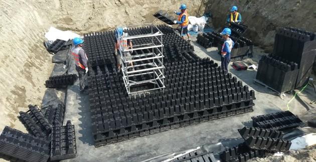 圖 36 潮州機廠之堆疊施工