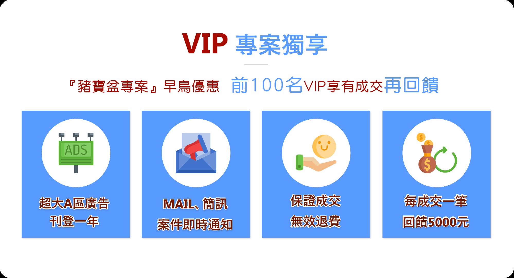 『豬寶盆專案』早鳥優惠 前100名VIP享有成交再回饋
