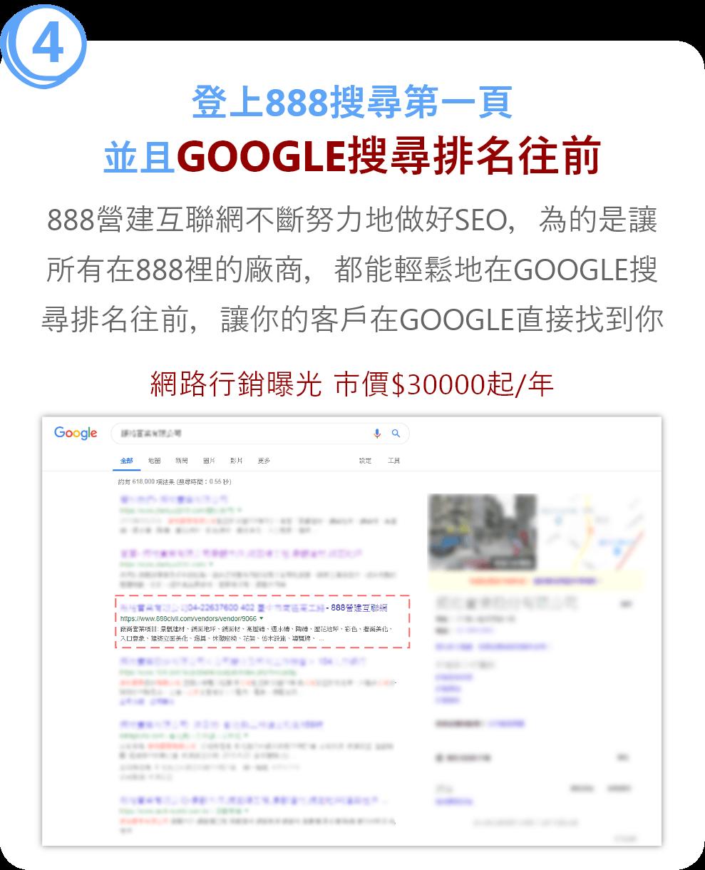 登上888搜尋第一頁 並且GOOGLE搜尋排名往前